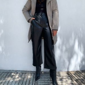 Aritzia Babaton Coney faux leather wide leg pants